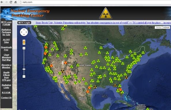 Feljegyzett sugárzásészlelések a világon. netc.com (kattintásra nagyítható)