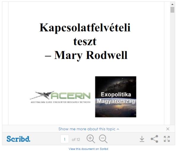 Kapcsolatfelvételi teszt - Mary Rodwell, Exopolitika Magyarország