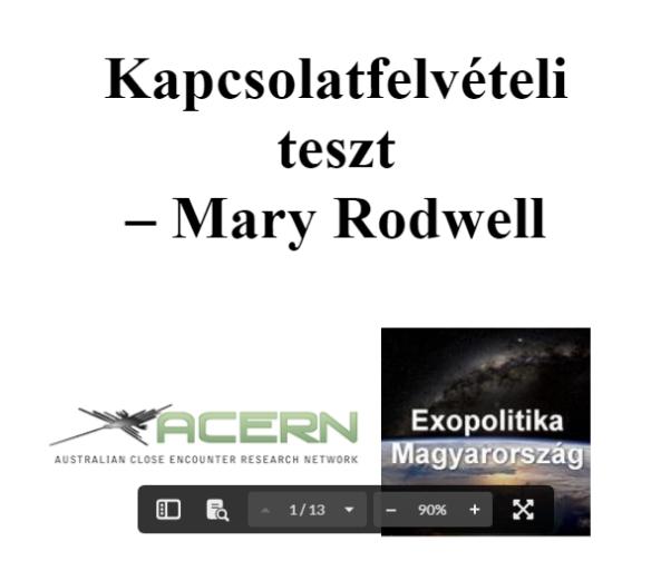 Mary Rodwell - Kapcsolatfelvételi teszt